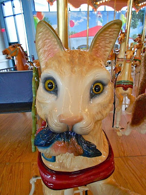 close-up of cat's head on Woodside Park carousel