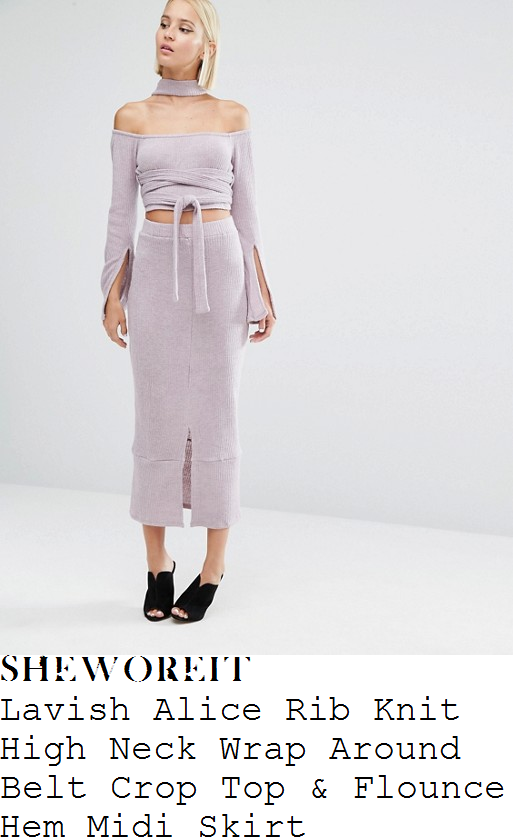 perrie-edwards-lavish-alice-mauve-lilac-grey-off-the-shoulder-bardot-neckline-long-split-sleeve-faux-choker-detail-ribbed-knit-crop-top-and-matching-high-waisted-split-front-flounce-hem-midi-skirt