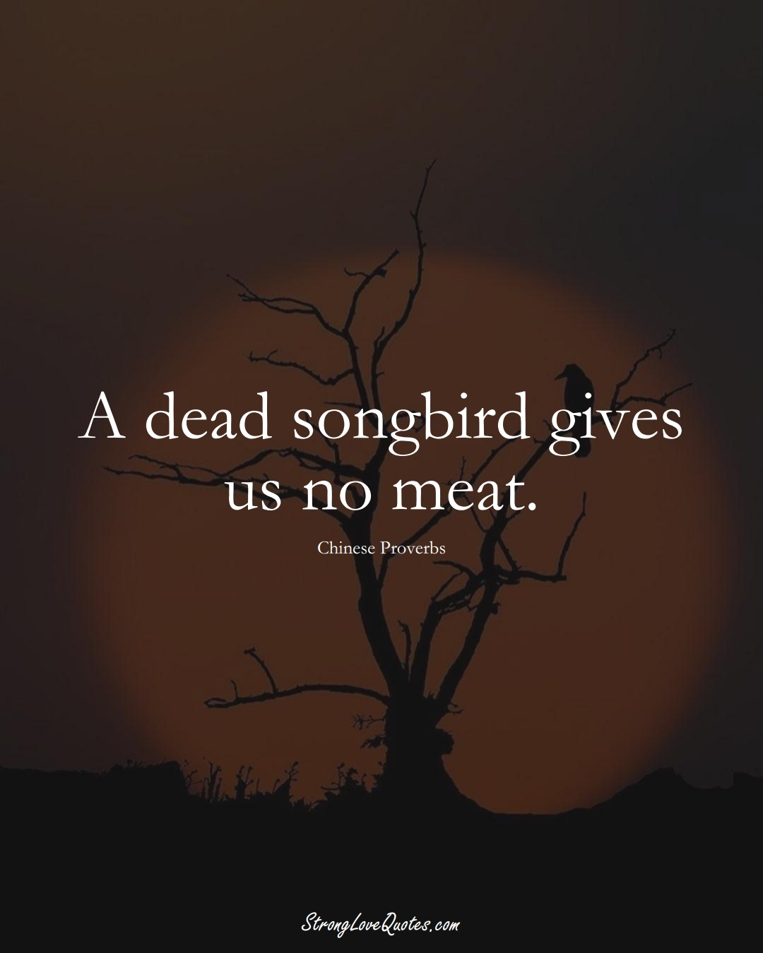 A dead songbird gives us no meat. (Chinese Sayings);  #AsianSayings