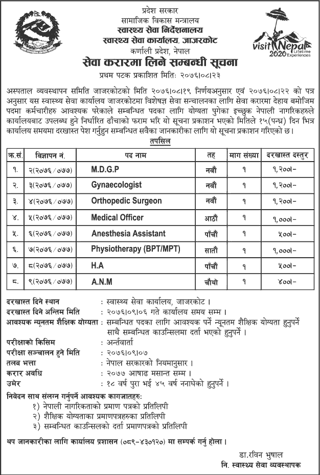 Health Service Office Jajarkot Vacancy Notice