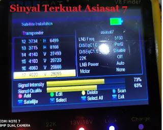 Frekuensi dan Transponder Asiasat 7
