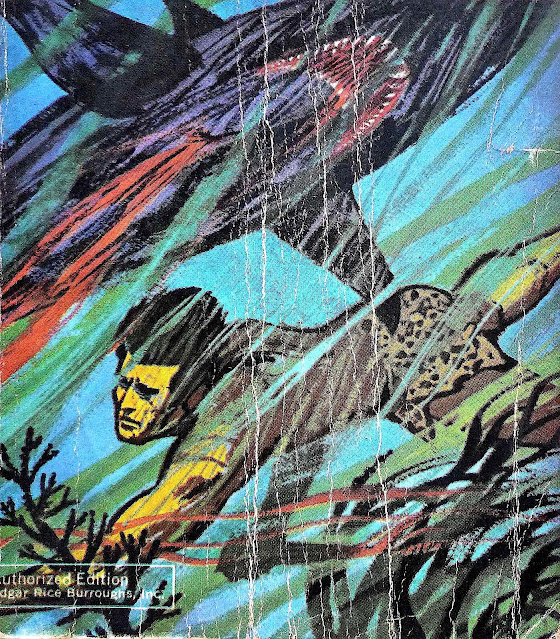 a 1960s Richard Powers book cover for one of  Edgar Rice Burroughs' early 20th Century Tarzan stories