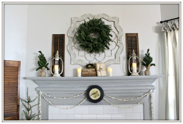 Winter Mantel-French Country-Farmhouse-Chimney Lanterns-Cottage Style-From My Front Porch To Yours