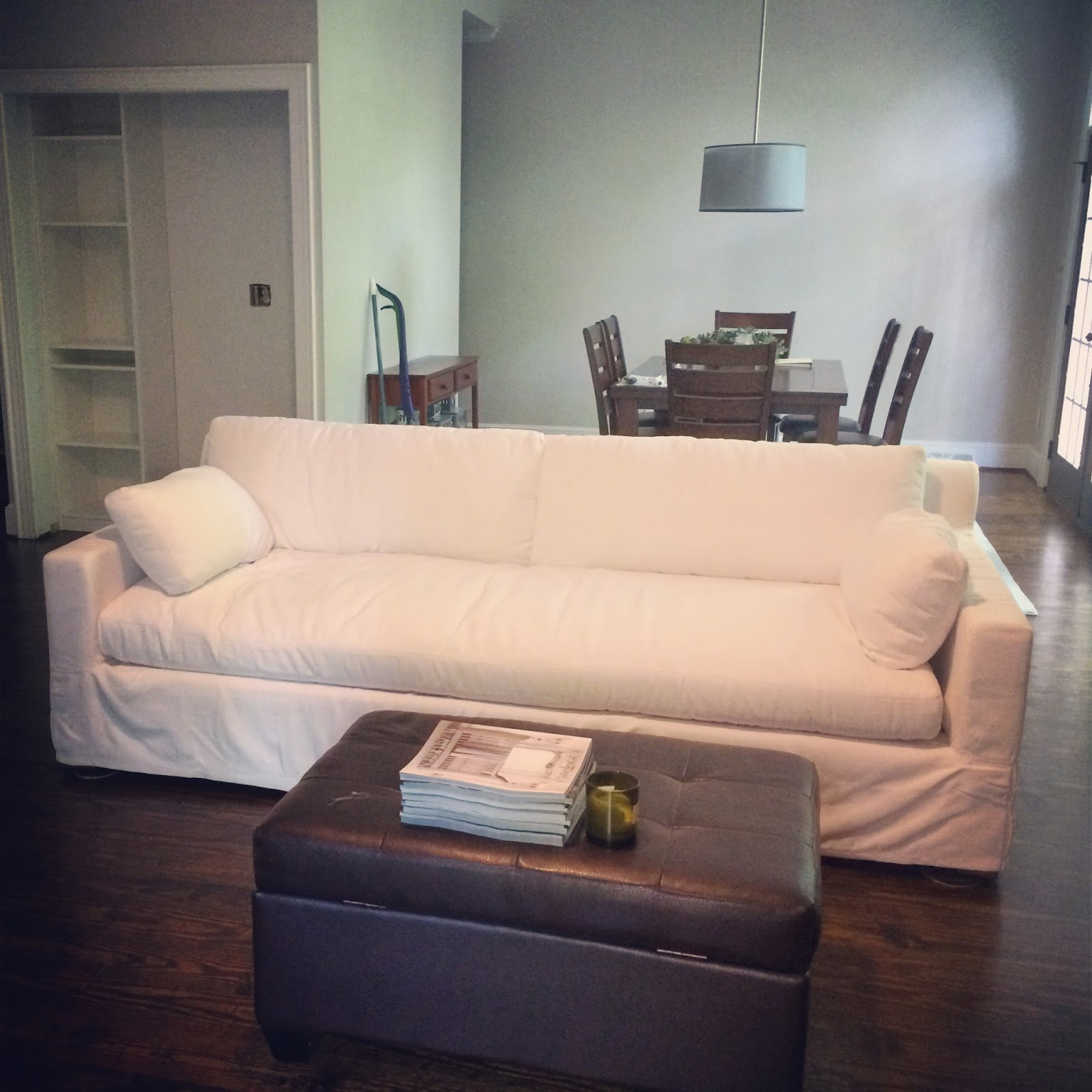 petite belgian track arm slipcovered sofa how to dispose of old bed designs