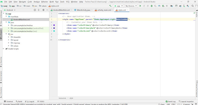 Android Studio website Code