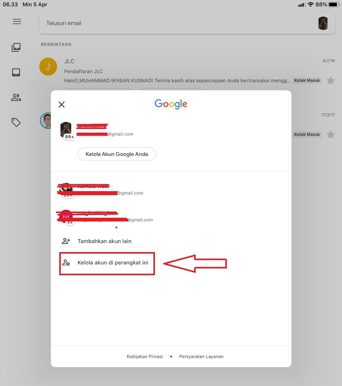 cara mudah logout gmail di android atau
