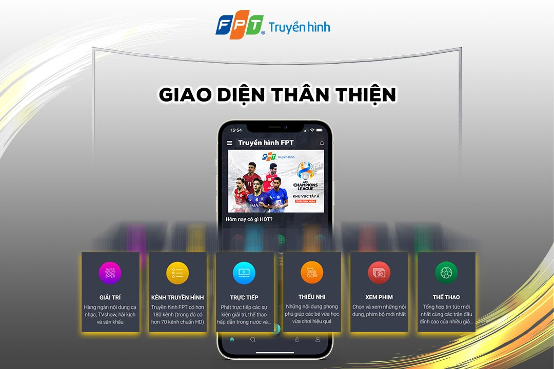 Giao diện ứng dụng FPT TV tv remote