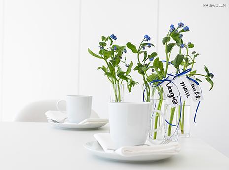 Vergiss mein nicht - Tischdeko mit Blumen