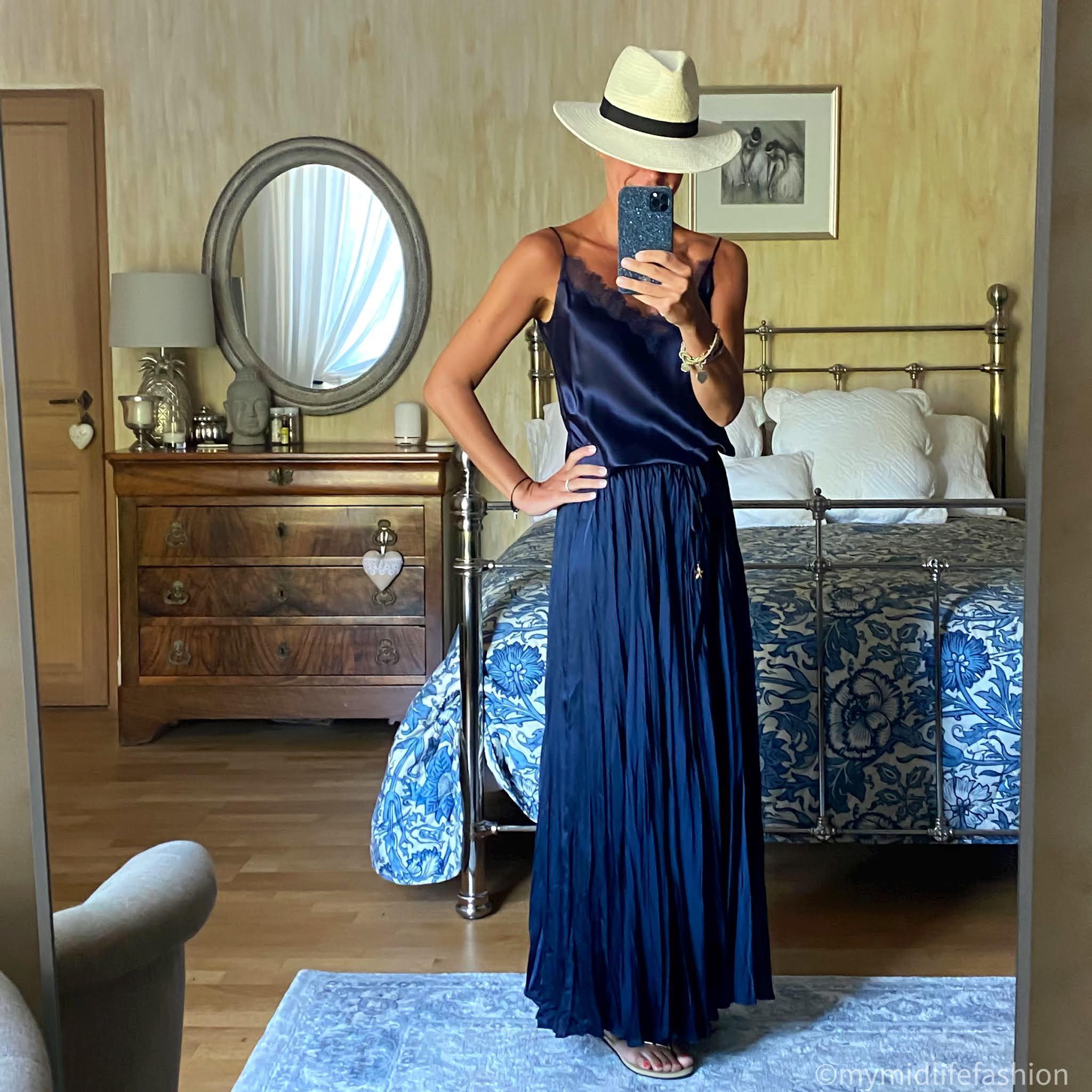 my midlife fashion, zara Panama hat, Massimo Dutti lace trim silk camisole, zara wrinkled satin-effect skirt, havaianas slim fit gold flip flops