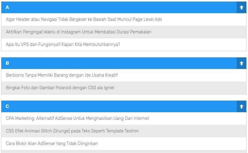 Membuat Sitemap (Daftar Isi) Berdasarkan Abjad