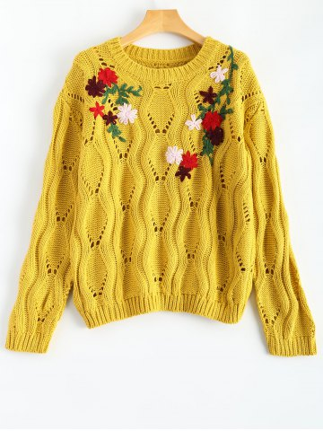 Round Neck Retro Floral Embroidered Sweater