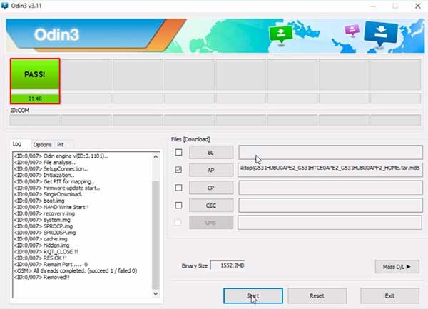 como actualizar firmware con Odin Samsung
