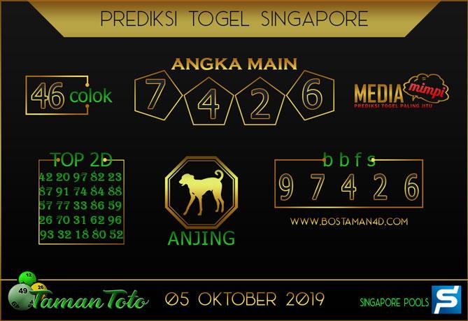 Prediksi Togel SINGAPORE TAMAN TOTO 05 OKTOBER 2019