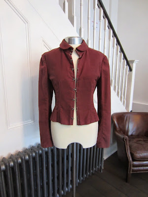 Chloe Maroon Cotton Jacket with Frog Fastening