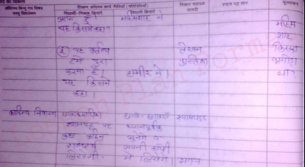 Hindi Lesson Plan class 4 for b.ed and d.el.ed