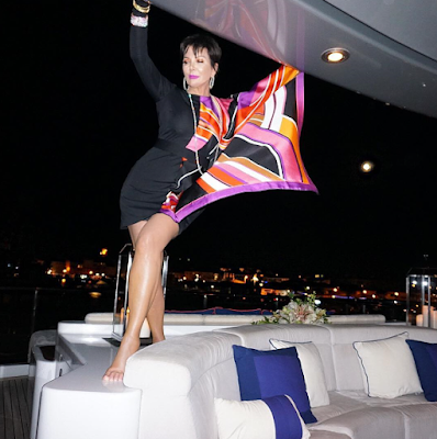 Yacht queen Kris Jenner having a great time on vacation in St. Tropez