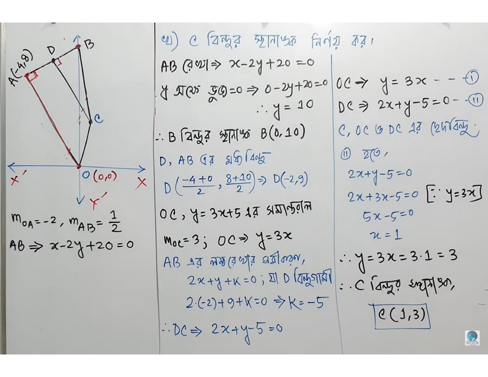 স্থানাঙ্ক জ্যামিতির মাধ্যমে সরলরেখা সংক্রান্ত সমস্যা সমাধান: চিত্রে OABC একটি চতুর্ভুজ। A(-k, 2k), k> 0 এবং OA =√80একক। 0C রেখা, y – 3x = 5 রেখার সমান্তরাল এবং C বিন্দুটি AB এর লম্ব সমদ্বিখণ্ডক রেখার উপর অবস্থিত https://www.banglanewsexpress.com/