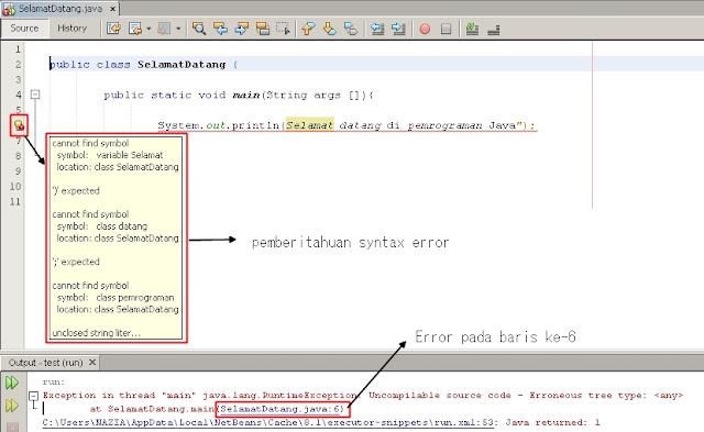 Syntax error pada Netbeans