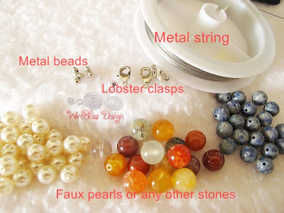 Materials needed for stringing beads by Wirebliss