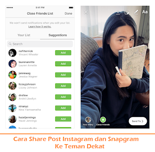 Cara Share Post Instagram dan Snapgram Ke Teman Dekat (Termudah.com)