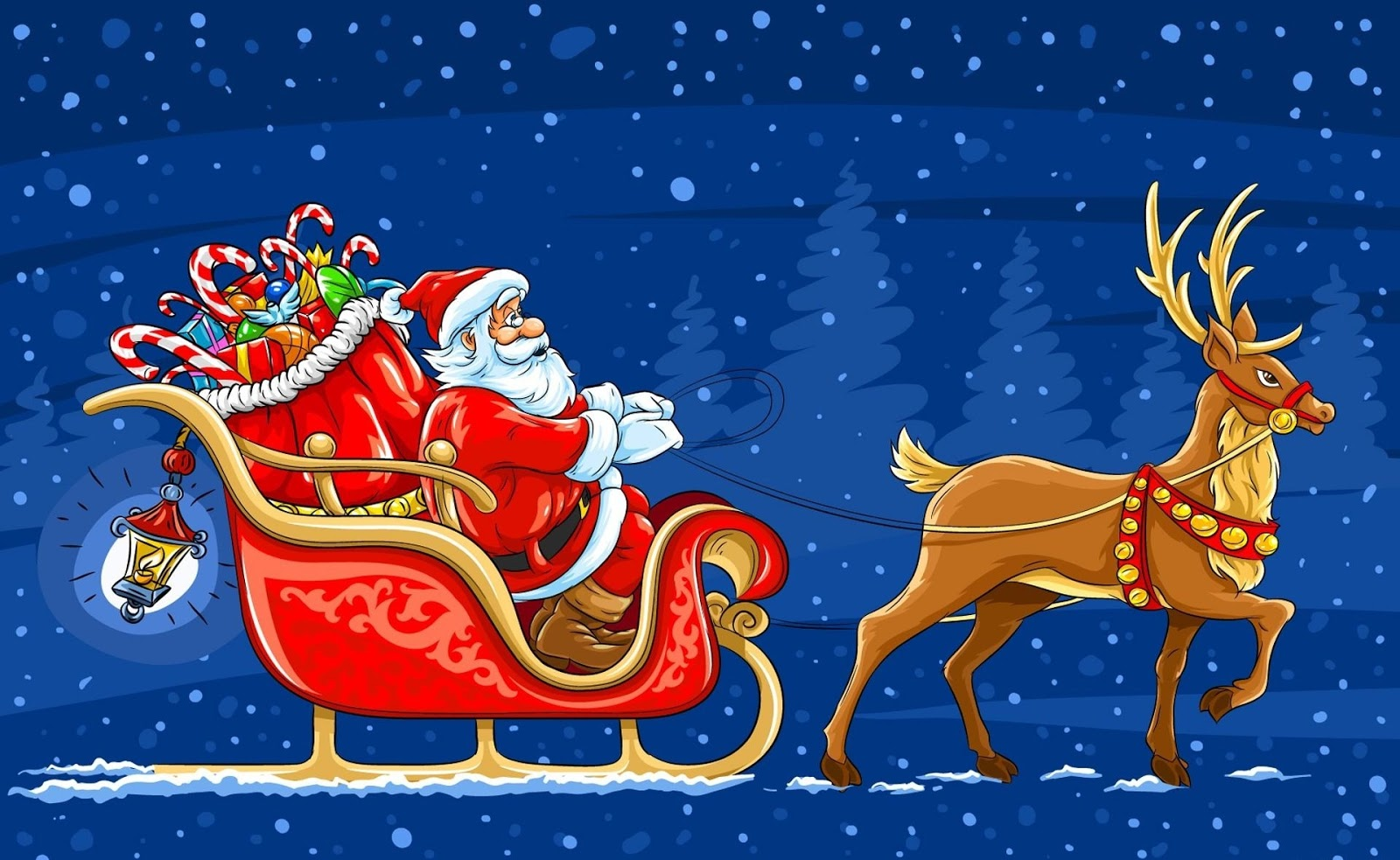 Christmas Santa Sleigh.8 Chinese New Year Free Greeting Card 2014