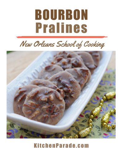 Bourbon Pralines ♥ KitchenParade.com, the famous praline recipe from the New Orleans School of Cooking, given an extra southern touch with bourbon.