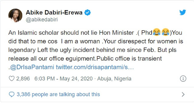 'An Islamic Scholar Should Not Lie, Your Disrespect For Women Legendary' - Abike Dabiri-Erewa Blasts Minister of Communication