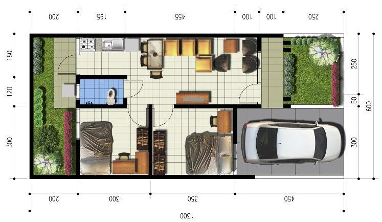 Denah ukuran 6 x 13 dengan 2 kamar tidur, REFERENSI RUMAH