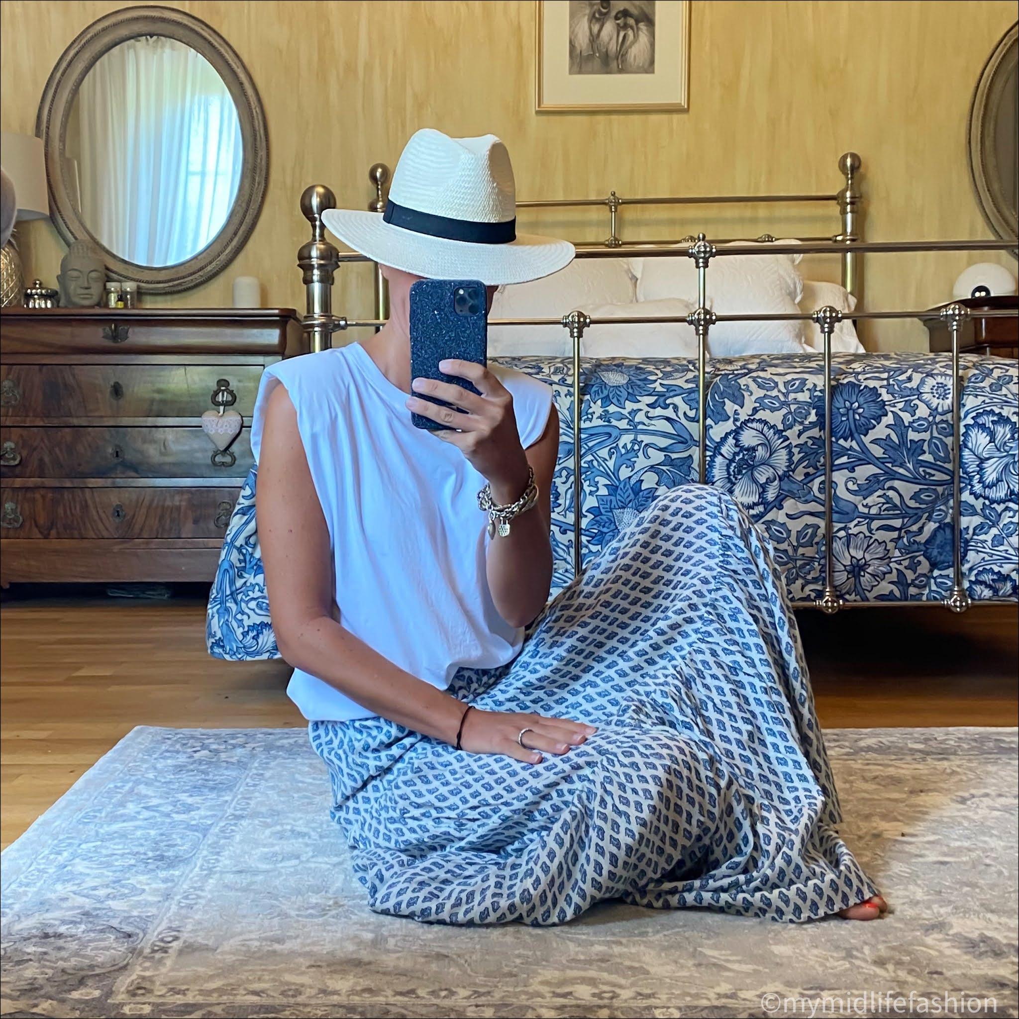my midlife fashion, zara fedora hat, zara padded t-shirt, zara tiered maxi skirt