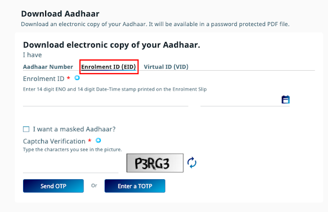 Aadhar card download with enrollment Id