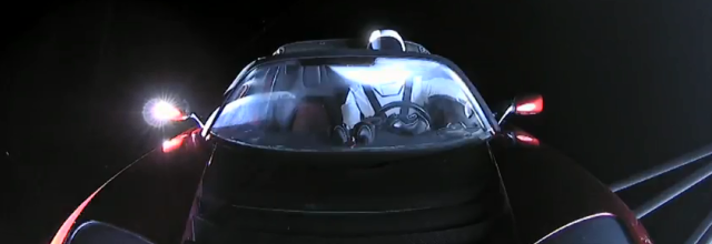 photo of Starman in his Tesla in Outer Space Feb 6, 2018