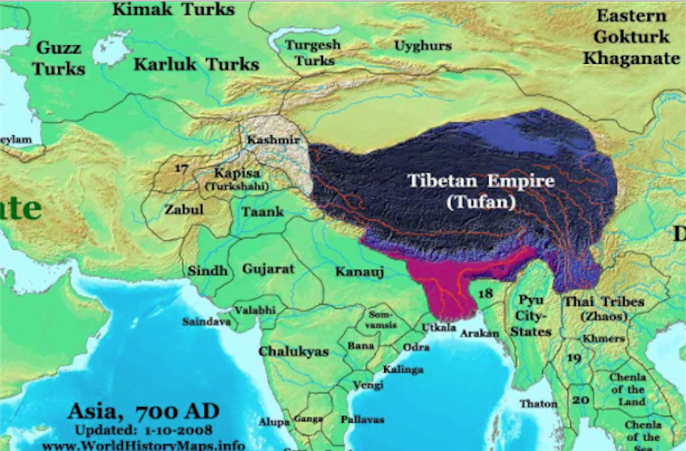 Map Of Asia In 700 Ad.The Lost Bengal 100 Years Of Matsyanyay Tibet And Bengal