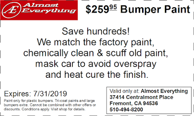 Discount Coupon $259.95 Bumper Paint Sale July 2019