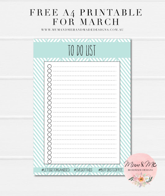 Free A4 Printable for March - To Do List by Mum & Me Handmade Designs