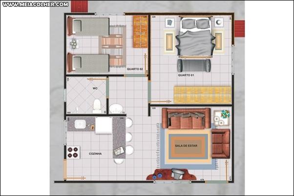 Casa de dois quartos e um banheiro 2
