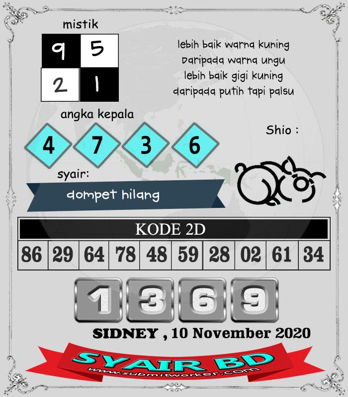 Syair BD Sidney Selasa 10 November 2020