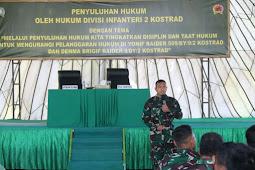 Hukum Divisi Infanteri 2 Kostrad Berikan Penyuluhan Materi Hukum di Satuan Jajaran Brigif 9/Dharaka Yudha