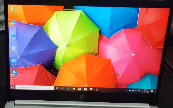 14-inch FHD IPS display of HP 14s DR1009TU laptop.