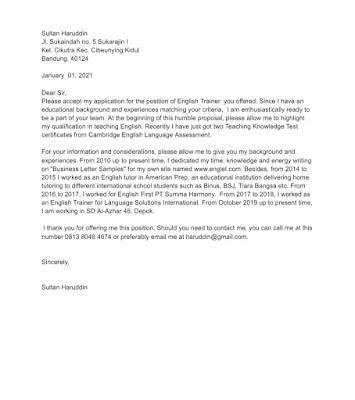 Teacher Application Letter Sample