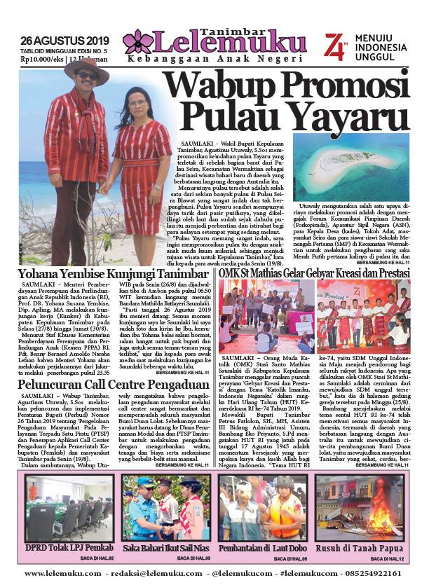 Tabloid Lelemuku #5 - Wabup Promosi Pulau Yayaru - 26 Agustus 2019