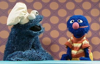 Grover will ask the cook of the show for food, but is a bit disappointed when he sees Cookie Monster as the cook. Sesame Street Happy Healthy Monsters