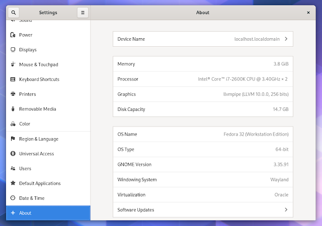 GNOME 3.36 About settings