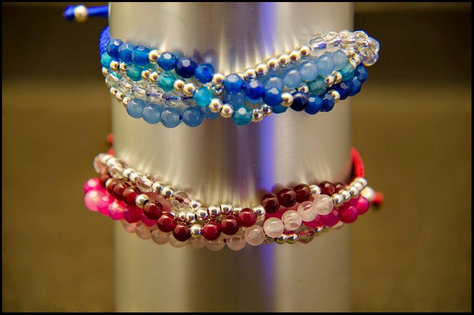 Pulseras hilos de plata y semipreciosas jade, agata, cuarzo rosa, cristal de roca, joyería artesanal personalizada
