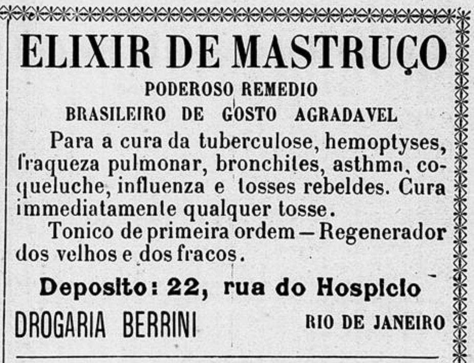 Anúncio antigo do Elixir de Mastruço veiculada em 1908