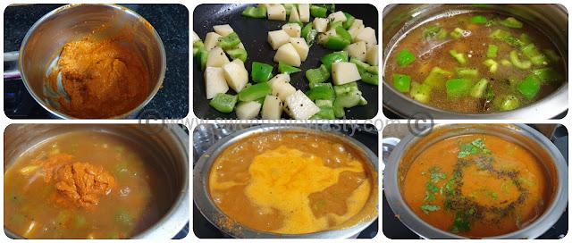 Potato capsicum sambar is very delicious .The distinct flavor of  the capsicum lends a very nice aroma to the sambar .