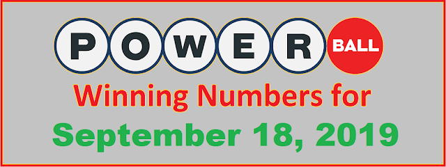 PowerBall Winning Numbers for Wednesday, September 18, 2019