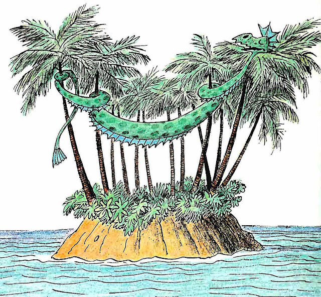 a children's book illustration by Bill Peet 1975, a dragon sleeping in palm trees on an island