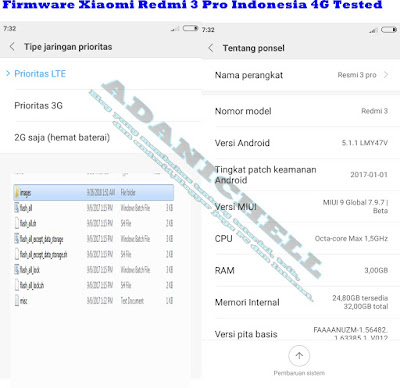 Rom/Firmware Xiaomi Redmi 3 Pro Indonesia 4G Tested