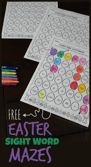 FREE Easter Sight Word Mazes - these free printable worksheets for kids are such a fun way for preschool, kindergarten and first grade kids to practice key sight words with a fun, color by sight word activity. This is perfect for an Easter center, homework, extra practice, spring break, homeschool, and more. #easter #sightwords #kindergarten