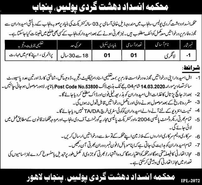 Counter Terrorism Department CTD Jobs For Langri February 2020